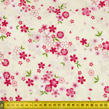 100% Cotton Pale Yellow with Pink Sakura Fabric Fat Quarter Quilting FQ #0083