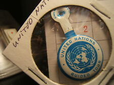 UNITED NATIONS GUIDED TOUR PIN-BACK Token Blue-White 1950's-1960's