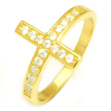 Amazing 18ct Gold Plated Solid Sterling Silver Cross Crucifix Ring Size 8