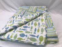 Vtg Queen Full Bedspread Quilt Stripes Fish Blue Green Seaside Beach Farmhouse