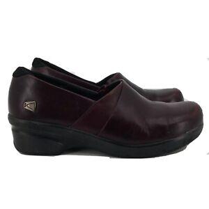Keen Womens Mora 1014008 Slip On Leather Comfort Burgundy Clogs Size US 7