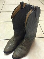 J Chisholm 912 Gray Bull hide Cowboy Boots Made In USA Men's 9 EE