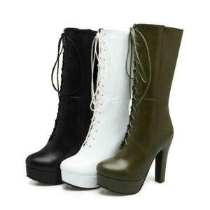 Womens Mid Calf Boots Zip Lace Up Platform High Heel Party Riding Shoes Oversize