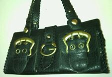 Guess small black leather w/brass hardware shoulder bag (E.U.C.)