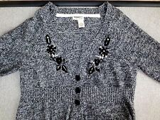 DKNY Jeans Cardigan Sweater Black Heather  Embroidery Stones  Size M   NWOT