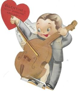 Vintage Valentine Card Boy MUSIC Fiddle Instrument Violin Stop Fiddling Around