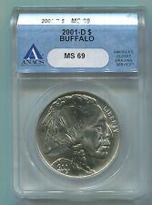 2001-D Buffalo Commemorative Silver Dollar - ANACS MS-69-