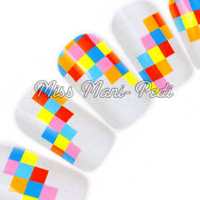 Nail Art Water Transfers Wraps Decals Coloured Squares Fun Cute K111