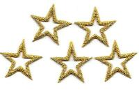 "STARS - 7/8"" GOLD OPEN STAR  (5 Pc) Iron On Embroidered Applique/Trim, Accents"
