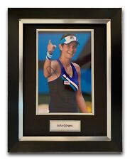JULIA GOERGES HAND SIGNED FRAMED PHOTO DISPLAY - TENNIS AUTOGRAPH.