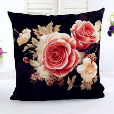 Printing Dyeing Peony Sofa Bed Home Decor Pillow Case Cushion Cover Black G1