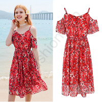 Women Off Shoulder Spaghetti Strap Party Casual Beach Wedding Club Chiffon Dress