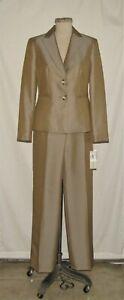 Evan-Picone Park Avenue 2pc Taupe Button Front Tailored Jacket & Pant Suit 6 NWT