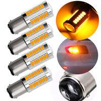 4X Bright Amber 1157 BAY15D Tail Stop Brake Backup Reverse Light 33SMD LED Bulbs