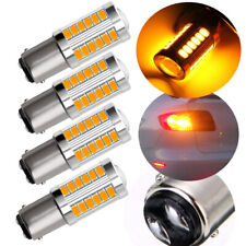 4X Bright Amber 1157 BAY15D Tail Stop Brake Backup Reverse Light 33SMD LED Bulbs