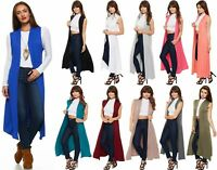 Womens Ladies Boyfriend Sleeveless Open Long Maxi Plain Duster Cardigan Top 8-26