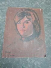 vintage Woman in Orange Portrait Oil Painting by Mary Caruso