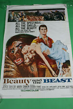 1962 BEAUTY AND THE BEAST Original One Sheet Movie Poster 27x41 VTG Horror Show