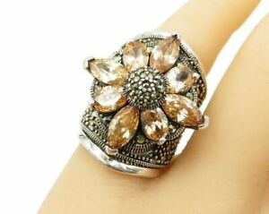 925 Silver - Faceted Citrine & Marcasite Floral Cigar Band Ring Sz 5.5 - R1501