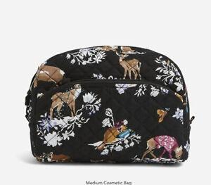 NWT Vera Bradley Merry Mischief Medium Cosmetic Bag Plastic Lined Animals Xmas