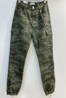 Army Green Camouflage Cuffed Combat Pants Cargo Trousers with Chain BNWT Camo