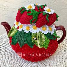 Crochet tea cosy red tea cover flower tea cozy tea warmer crochet strawberry