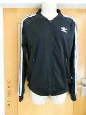 WOMEN'S ADIDAS BLACK 3 STRIPE ZIP UP TRACK TOP - SIZE 8