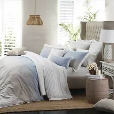 PRIVATE COLLECTION Jervis Blue Stripe Super King Size Doona Quilt Cover Set