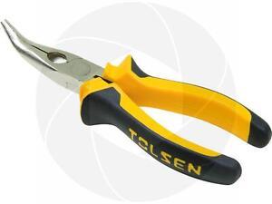 "Tolsen Industrial 6"" 160mm Bent Snip Needle Nose Pliers Wire Cutter Stripper"