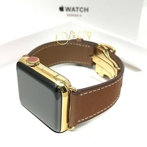 24K Gold Plated 42MM Apple Watch SERIES 3 Brown Leather Band