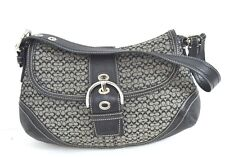 COACH BLACK / GRAY GENUINE LEATHER SHOULDER BAG HANDBAG / HOBO