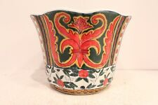 "Beautiful Round Porcelain MutliColor Chinoiserie Orchid Flower Pot 7"" Diameter"