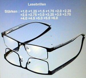Lesebrille Metall Federscharnier Komfortabel  2 Farben von +1.0 +1.25 bis +6.0