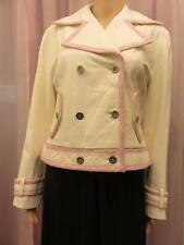 Women's NICOLA BERTI Ivory Soft Leather Pink Trim Short Jacket Coat Size M