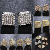 Unisex Crystal Cubic Zirconia Silver/Gold Ear Stud Earrings Wedding Jewelry Gift