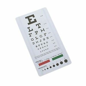 Snellen Eye Chart Wall Chart for Visual Acuity with Red Green Lines, Pupil Gauge