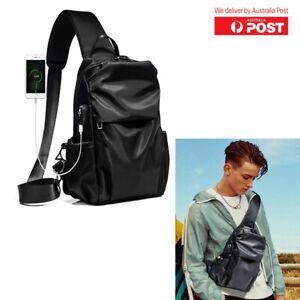 Mens Waterproof Chest Bag Travel Sport Crossbody Shoulder With USB Charging Port