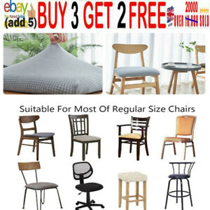 1-5PCS Stretch Spandex Jacquard Dining Room Chair Seat Covers Removable Wash