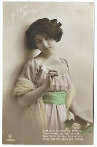 Glamorous Girl 1913 Tinted Real Photo Birthday Postcard 906D