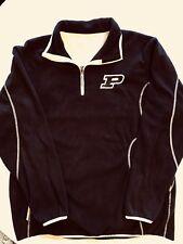 PURDUE University Antigua Fleece Jacket Mens XL Pullover Black Partial Zip