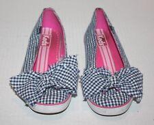 Keds Blue/White Gingham Ckecked Slip on Women's Shoe w/Bow Embellishment Size 5