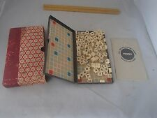 Vtg Old Mini Travel Small Board Game Scrabble Word Box Metal Magnet Squares wBox