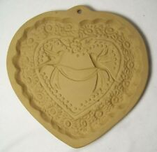 Brown Bag Cookie Mold Victorian Heart Ceramic Doves Ribbon Wedding Shower 1985