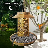 Solar Food Wild Bird Bath Feeder Bowl Outdoor Garden Decor Light LED  Tray