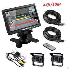 """7"""" TFT Monitor Rückansicht Set Bus LKW Van + 2x 18LED IR 4Pin CCD Rückfahrkamera"""