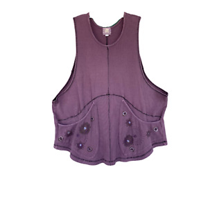 Blue Fish Artwear Thermal Vest -2- Muted Purple Organic Cotton/Spandex
