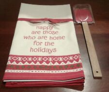 Hallmark kitchen towel HAPPY ARE THOSE WHO ARE HOME FOR THE HOLIDAYS w/ Spatula