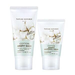 Nature Republic Cotton Armpit Kit Armpit Wash 80ml /Whitening Cream 50ml