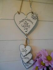 New Personalised  Wedding Day gift, sign, Hanging Heart  plaque, shabby chic