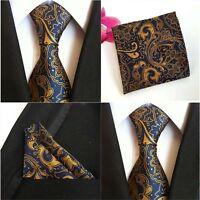 Men Paisley Flower Blue Yellow Silk Necktie Pocket Square Handkerchief Lot HZ080